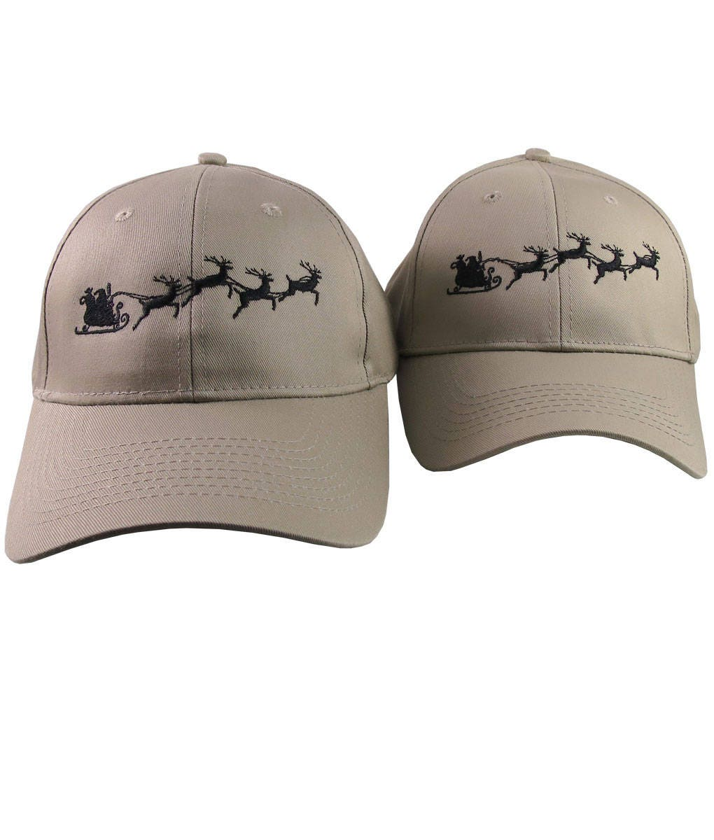 A Pair of Holidays Christmas Santa Sleigh Embroidery Designs on 2 Beige  Adjustable Structured Baseball Caps for Adult + for Child Age 6-14 76443ea9711f