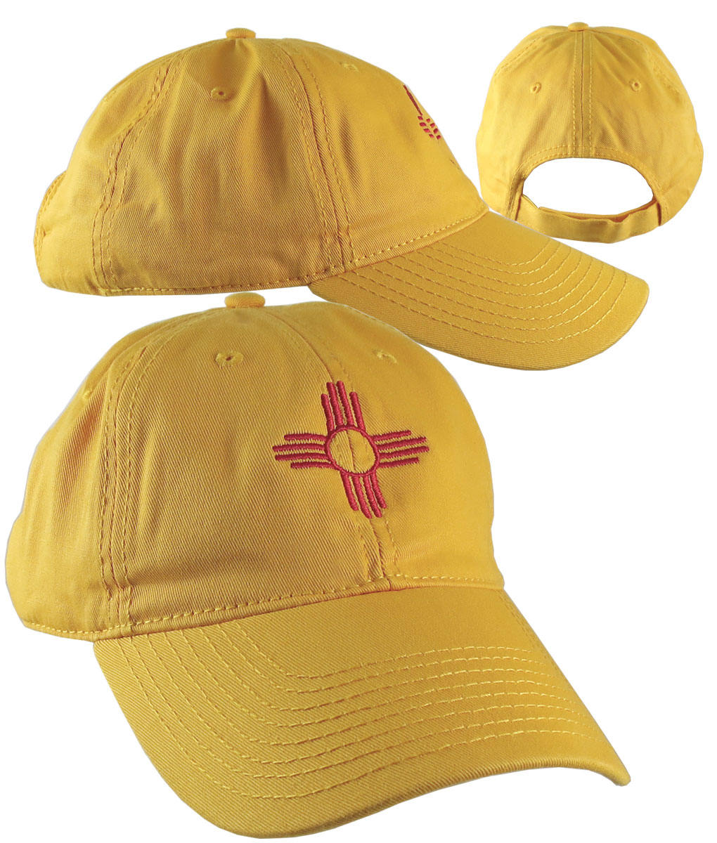 4984f3c7438 New Mexico State Flag Symbol Red Embroidery Design on an Adjustable Sun  Yellow Unstructured Classic Baseball Cap Dad Hat