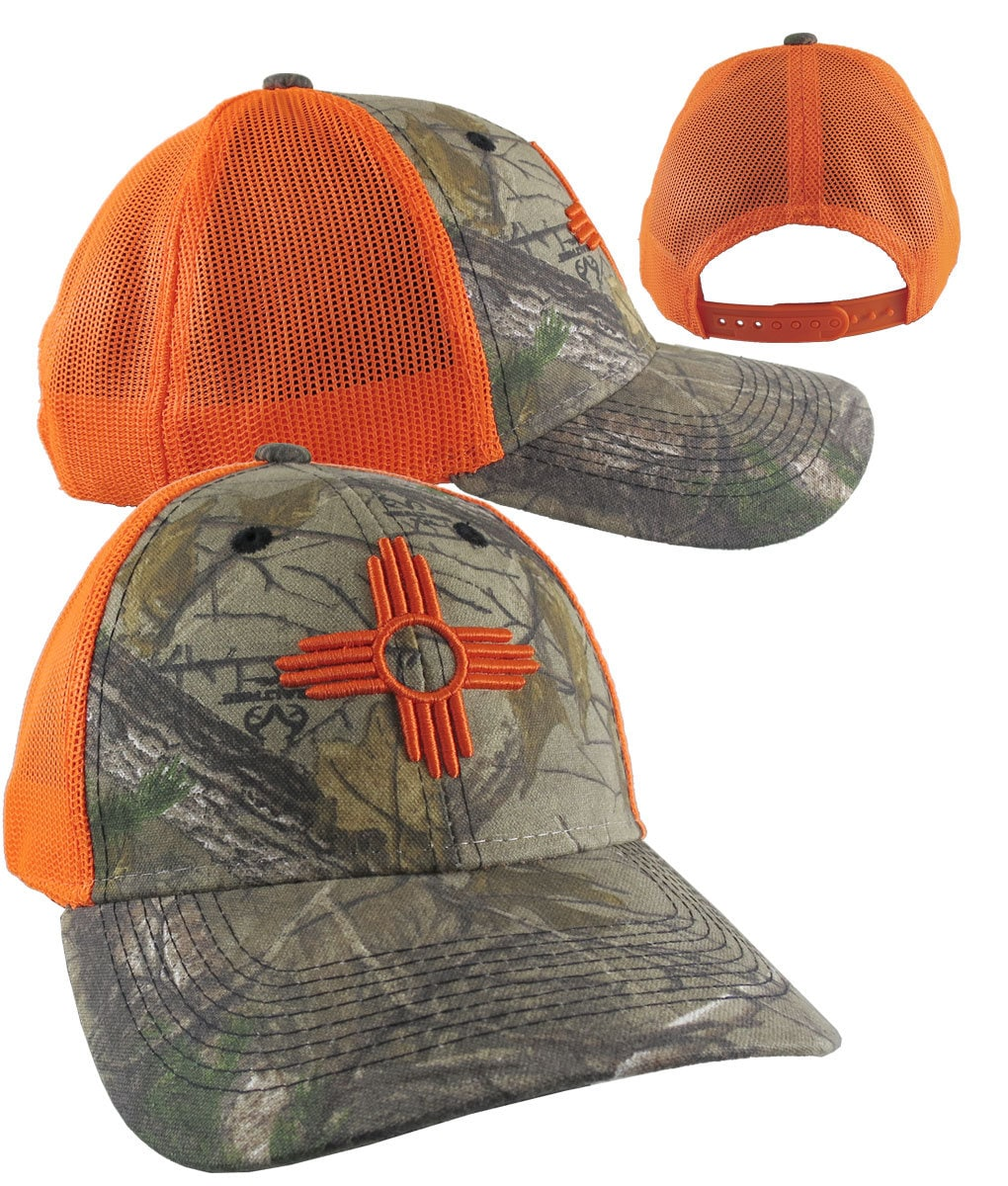 bd7b24b4a090a New Mexico State Flag Symbol Orange 3D Puff Raised Embroidery Design on an  Adjustable Realtree Camo Structured Classic Trucker Mesh Cap