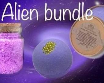 Alien (Mugler) Bath Bundle // Bath Bomb // Bubble Fizz Powder // Dead Sea Salts