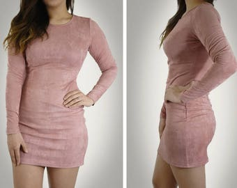 Pink Long Sleeve Faux Suede Dress