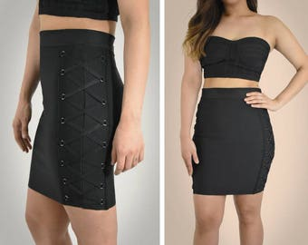 Din & Louie - High Waist Lace Up Bandage Skirt