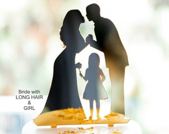 With Boy or Girl, Wedding Cake Topper, Bride with Long Hair or Updo, Acrylic [CT62]