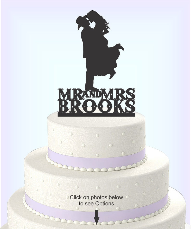 Country Western Wedding Cake Topper Silhouette Cowboy with Hat  caba168748d8