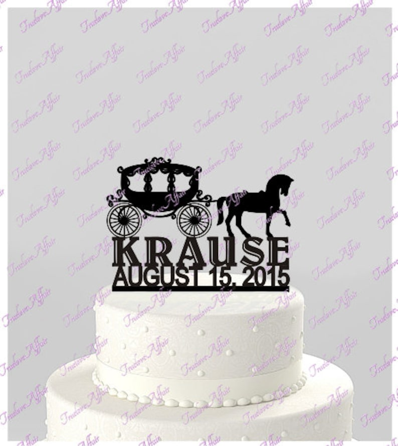 Horse Drawn Carriage Wedding Cake Silhouette Topper Mr And Mrs Personalized With Name And Date Acrylic Cake Topper Horse And Buggy Ct47