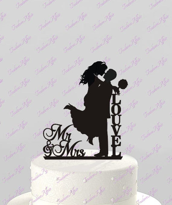 Wedding Cake Topper Silhouette Couple Mr Mrs Personalized Etsy