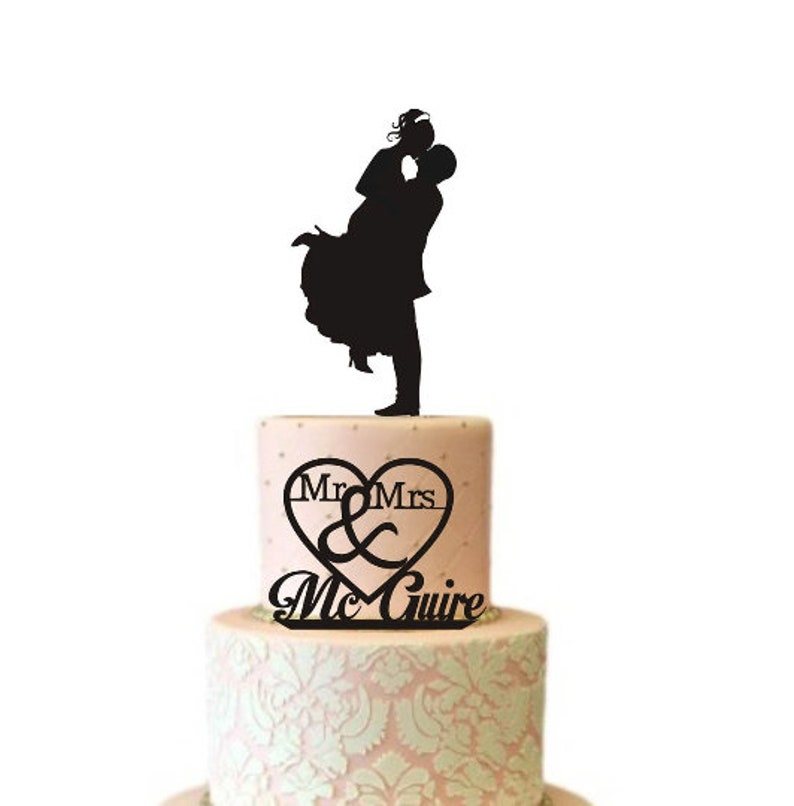 Fabulous Two Tier Wedding Cake Topper Silhouette For Small Cake Tops Etsy Funny Birthday Cards Online Alyptdamsfinfo