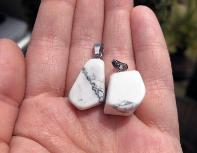 Howlite Crystal Tumble Stone Pendant!