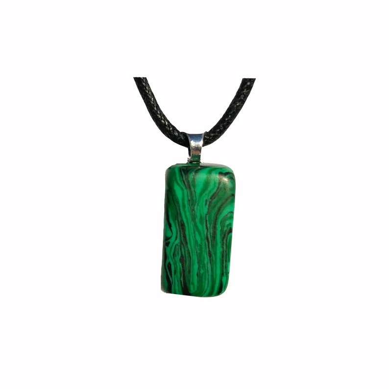 Malachite Crystal Tumble Stone Necklace