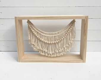 Macrame Shadowbox - Handmade, Fiber art, woodworking, wood beads, home decor