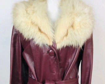 1f6440f9f VTG 1980s Burgundy Leather & Arctic Fox Fur Coat