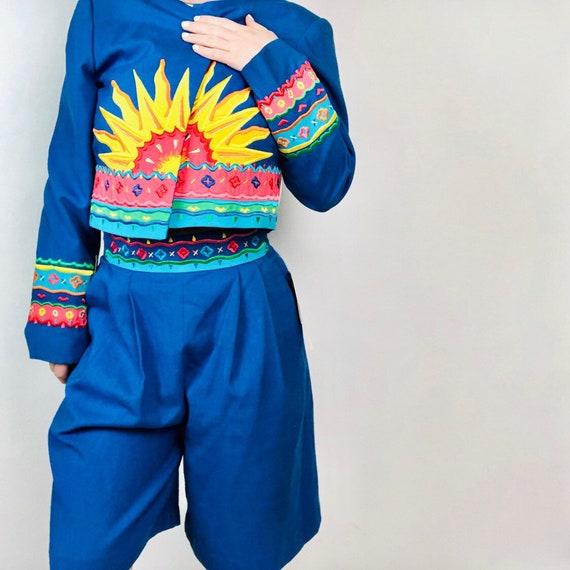 VTG 70s Sunset Shorts Suit