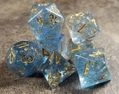 DnD Dice Set Sapphire Blue and Gold Foil Polyhedral dice D D dice, Dungeons and Dragons, Critical Role Roll D20 RPG Blood Geek Gift