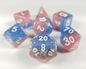 DnD Dice Set Pink Blue Glitter D D dice Polyhedral dice, Dungeons and Dragons 7 dice, Critical Role, Faux Stone stocking stuffer