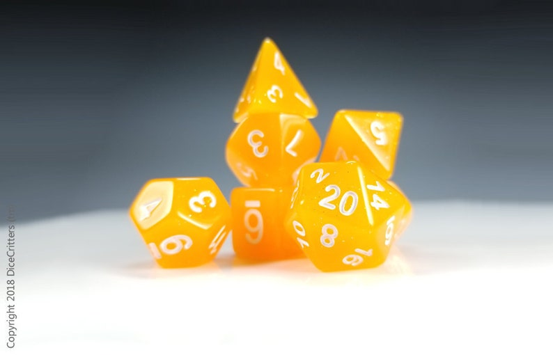 Dice Polyhedral 7-Die Orange Glitter Style Set Brand New