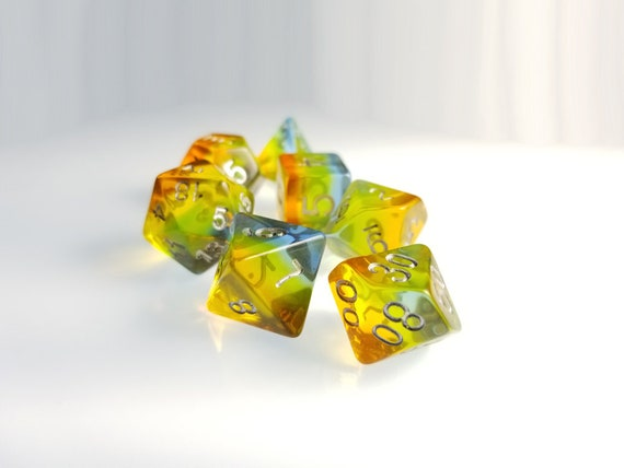 Dnd Dice Set Orange To Blue Rainbow Servant Tabletop Rpg Polyhedral Dice Dd Dice Set Dungeons And Dragons Dice Set Critical Role