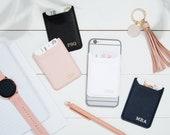 Foil Embossed Double Pocket Custom Phone Card Holder, Stamped Monogram Phone Wallet, Monogrammed Credit Card Holder, Stick On Phone Wallet