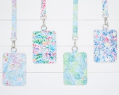 Personalized Lilly Inspired Faux Leather Lanyard With ID Holder, Keycard Holder, Monogrammed Badge Holder