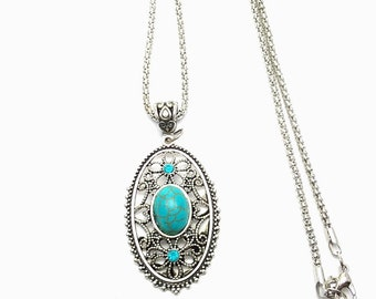 Silver Tibetan Turquoise scroll detail handmade retro style Crystal pendant Necklace