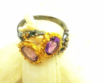 Natural Amethyst,Genuine amethyst, Sterling Silver 925 Black Rhodium, Gold Ring