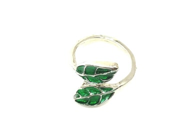 Silver plated handmade, handpainted,adjustable, green leaves ring