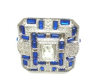 White Topaz,Sapphire Zircon, Silver 925 handmade Ring