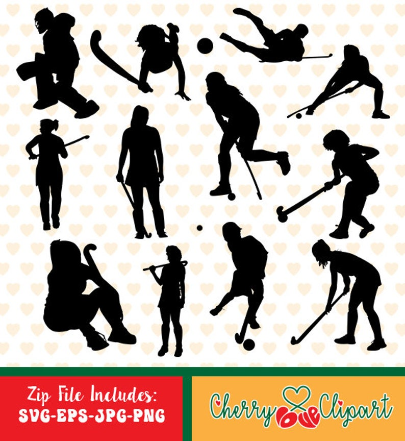 Field Hockey Silhouettes Sale Eps Svg Png And Jpg Files Etsy