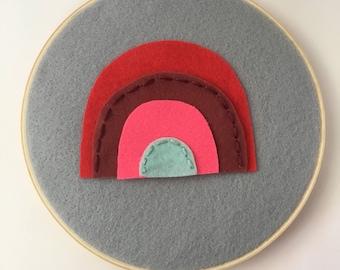 "6"" Rainbow Hoop Art- Felt- Hand stitching"