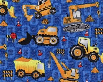 Kids boys fabric prints of trucks, cranes