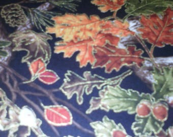 VERY pretty fabric colors of autumn on black background 100% cotton