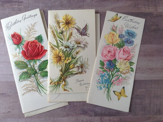 Vintage Floral Birthday Cards Unused Happy Birthday Etsy