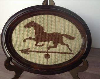 Horse weathervane cross stitch, race horse weathervane, palomino, galloping horse, counted cross stitch, 1970's, framed, weather vane