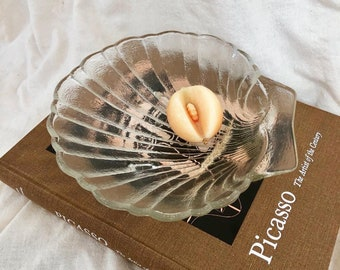 Two Scallop Shell Dishes Vintage Pearlescent Shell Plates Pair of 80s Iridescent White Seashell Catch All