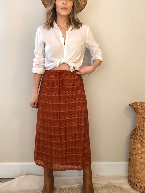 Vintage Boho Rust Skirt   90s South West Style Mid