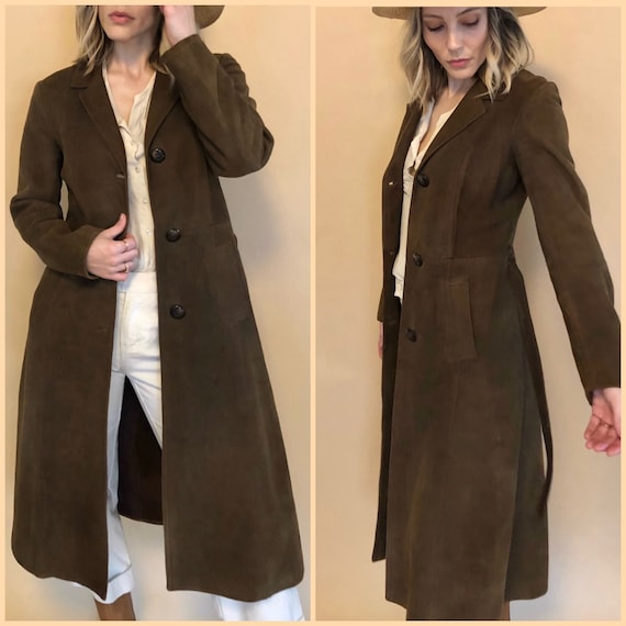 Vintage 70s Brown Suede Trench Coat | Spanish Leat