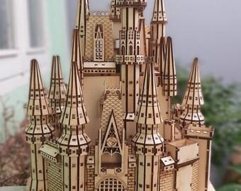 Cinderella Castle Wood model kit Digital File, Dxf for laser cut,Glowforge.