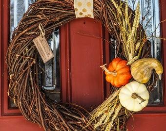 Fall wreath - Large fall wreath - Rustic fall wreath - Thanksgiving wreath - Autumn wreath - Fall decor - Rustic fall decor - FREE SHIPPING