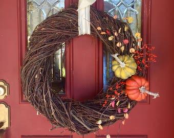 Fall wreath, Rustic Fall wreath, large fall wreath, Twig wreath, front door wreath, autumn wreath,  fall outdoor decor, FREE SHIPPING