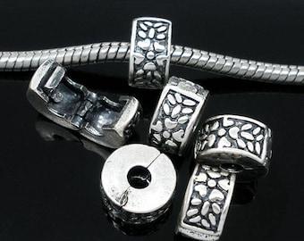 Pearl blocker clip antique silver European bracelet or necklace