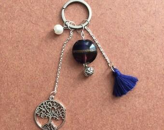 Bag charm - blue tassel keychain
