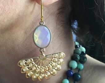 Ogi earrings gold tone with oval semi precious Opal stones
