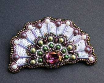 """Brooch made of beads and sequins with a swarovski crystal """"Inspiration"""""""