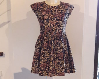 60s corduroy floral dress 50s style