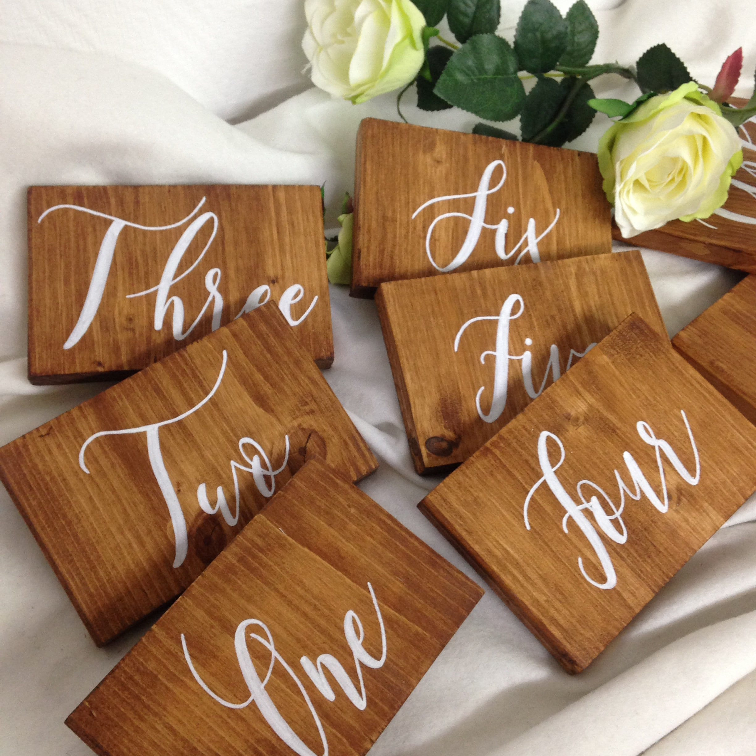 Your Table Numbers On Wooden Plate Pine Wood Shade Of Your Choice Signature Calligraphy Center Table Plate Event