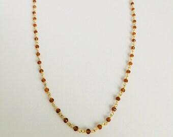 Choker necklace Garnet beaded chain gold plated 24 k