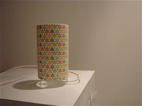 yellow fabric triangles height 27cm Scandinavian green spirit blue gray orange lamp cylindrical tube diameter 12cm Lighting