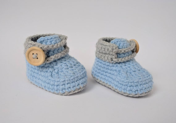 Baby boy shoes Crochet baby shoes Blue