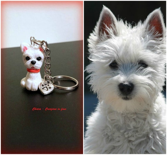 Westie  West Highland Terrier dog in a jumper sturdy  keyring  bag charm gift bag and FREE UK POSTAGE complete with free gift wrap