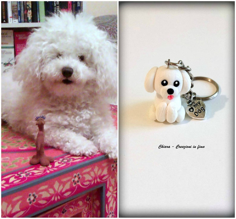Bichon frise dog keychain in polymer clay, pet portrait for bichon lover,  dog figurine for pet lover, bichon jewelry, dog mom gift, memorial