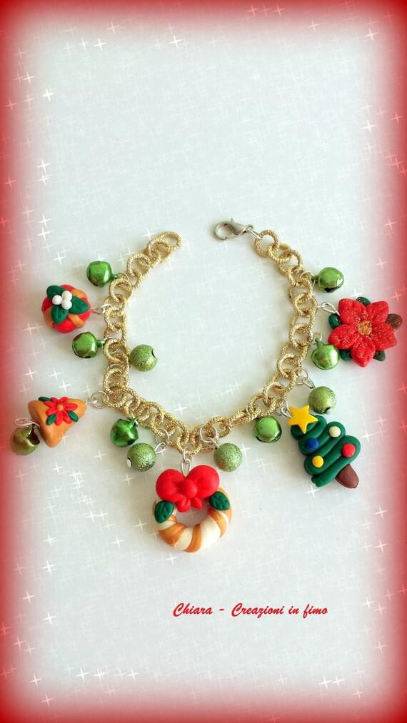 Polymer Clay Christmas Charms.Christmas Bracelet With Charms In Polymer Clay Christmas Friend Jewelry Gift